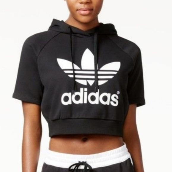 002a5277d3317 Adidas Tops - Black Adidas Short Sleeve Crop Hoodie